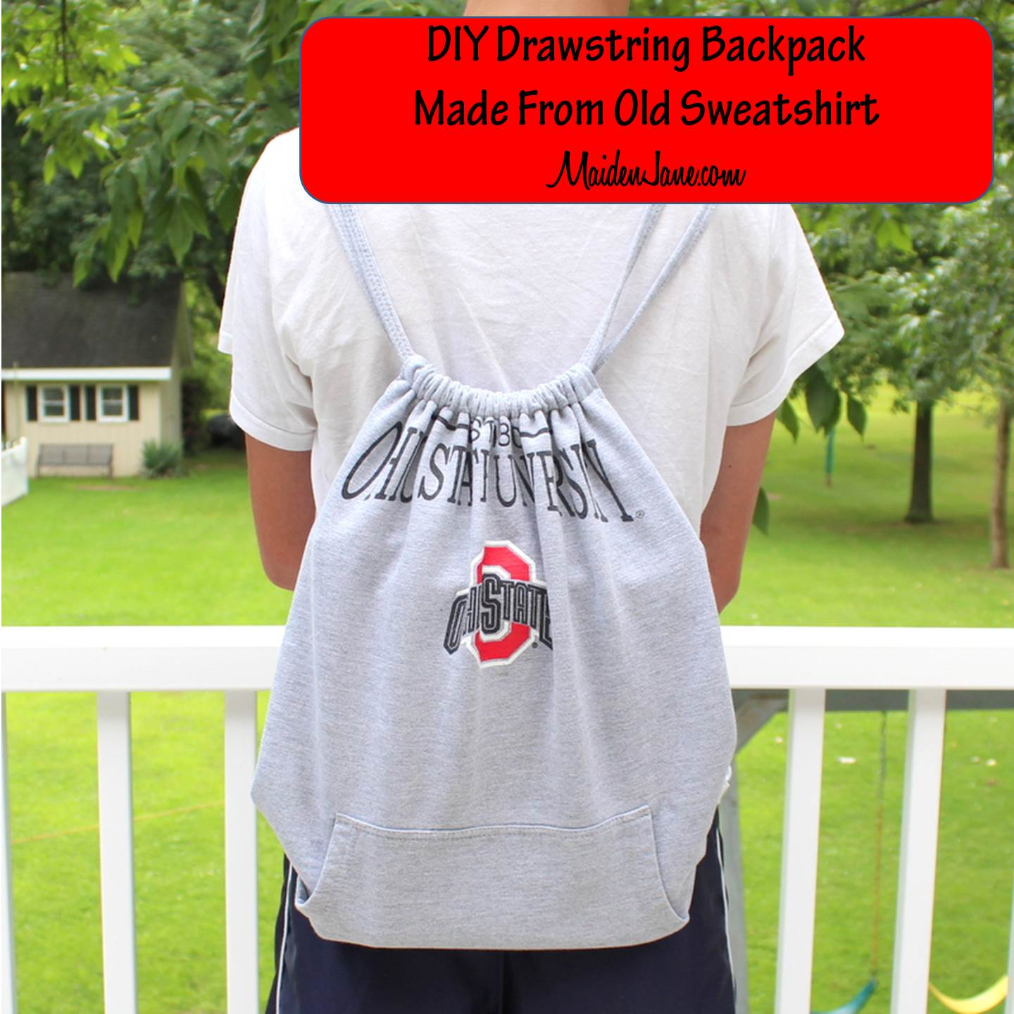 DIY Upcycled Sweatshirt to Drawstring Backpack