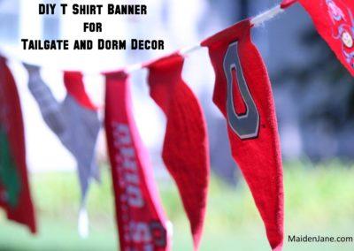 DIY T Shirt Tailgate Banner, Spirit Banner, Dorm Room Decor
