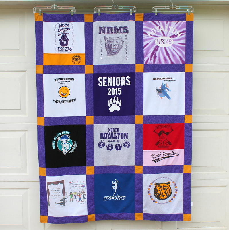 12 Block T Shirt Blanket with contrast sashing fabric