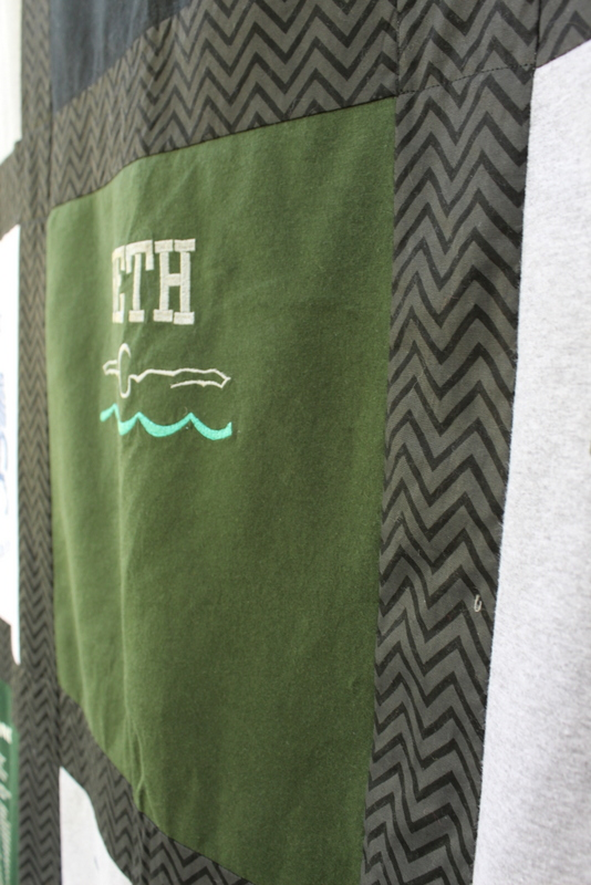 12 Block T Shirt Quilt with Chevron