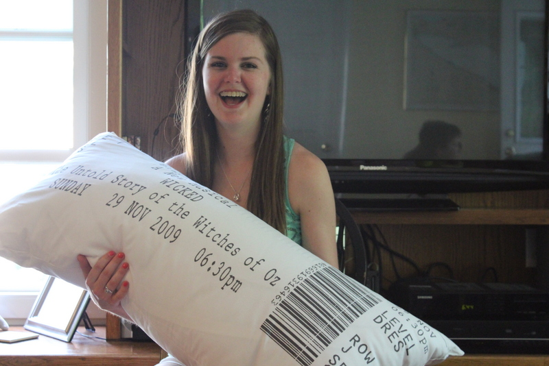 DIY Pillow made from ticket