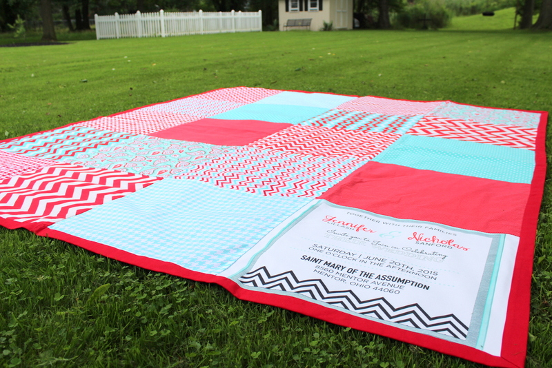 Oversized Beach Blanket with a Wedding Invitation Block