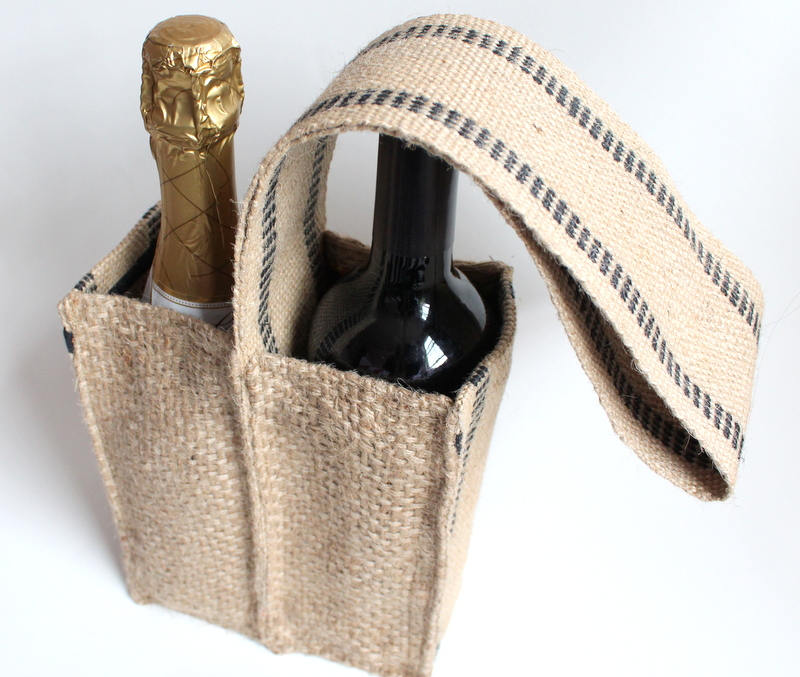 Wine tote made from upcycled coffee sack