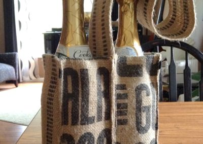 Double Wine Tote Made with Upcycled Coffee Sack