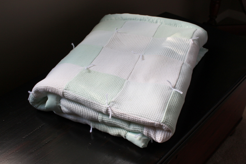 Custom baby blanket made using a late brother's thermal receiving blankets
