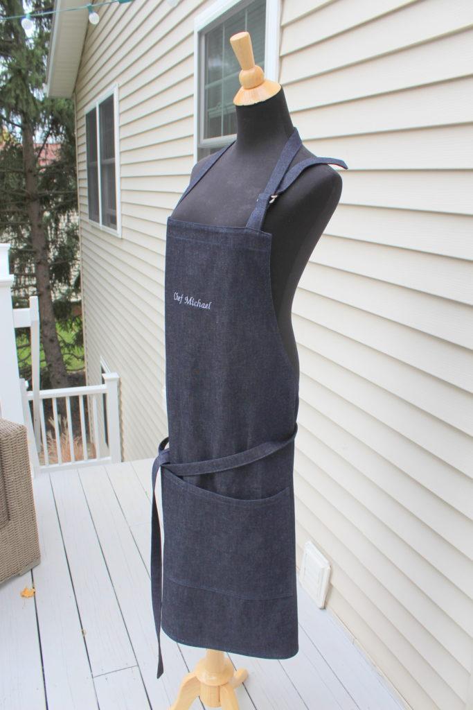 large denim apron