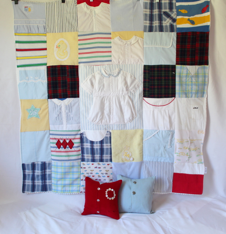 Vintage clothes keepsake quilt and pillows