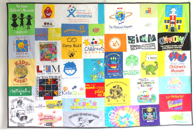 T Shirt Quilt Wall Hanging Made from Childrens' Museum Shirts