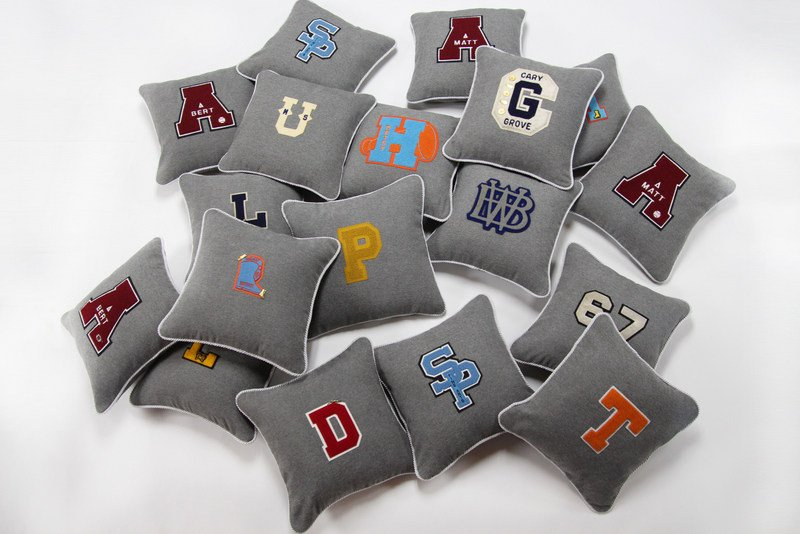 vintage varsity letter pillows