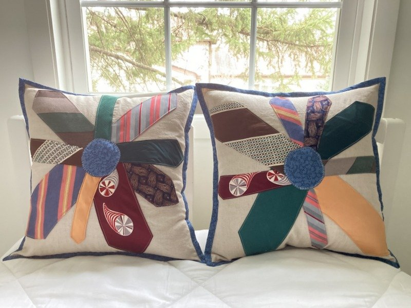 Memory Pillows from Girl Scout Uniform, Needlework and Neck Ties