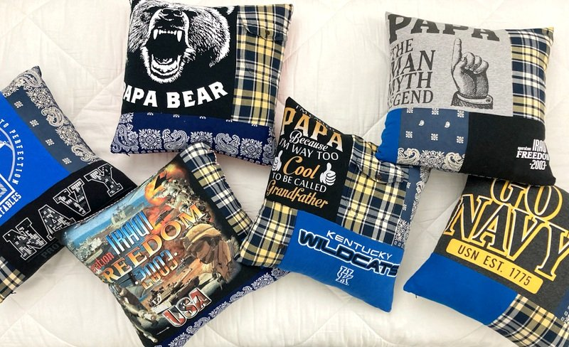 Memory Pillows Made from Bandanas and T Shirts