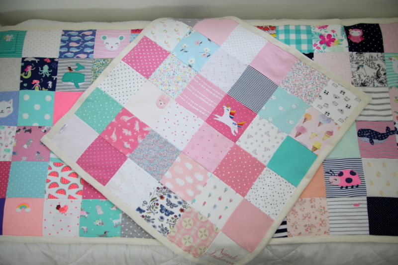 making a baby quilt out of vintage baby clothes