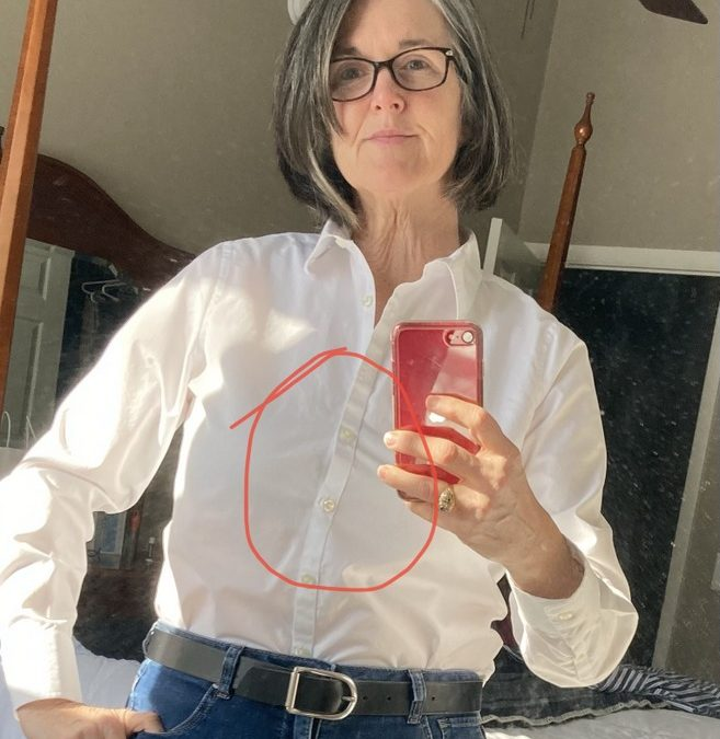 Stop the Gap!  Add a gusset to a button down Shirt to prevent gaping